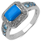 """1.36CTW Genuine Turquoise, Swiss Blue Topaz & White Topaz .925 Sterling Silver Ring"""