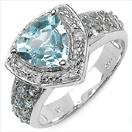 """2.66CTW Blue Topaz, Aquamarine & White Topaz .925 Sterling Silver Ring"""