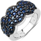 2.35CTW Genuine Blue Sapphire .925 Sterling Silver Cluster Ring