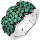 2.35CTW Genuine Emerald .925 Sterling Silver Cluster Ring