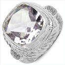 6.34CTW Pink Amethyst & White Topaz .925 Sterling Silver Ring