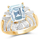 3.00CTW Genuine Aquamarine 14K Yellow Gold Plated .925 Sterling Silver Cocktail Ring