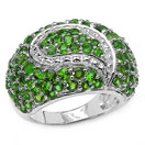 5.18CTW Genuine Chrome Diopside .925 Sterling Silver Ring