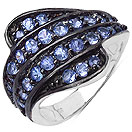 1.20CTW Genuine Tanzanite .925 Sterling Silver Ring
