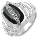 4.89CTW Black Onyx & White Topaz .925 Sterling Silver Ring