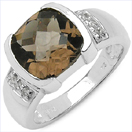 2.52CTW Genuine Smoky Topaz & White Topaz .925 Sterling Silver Ring