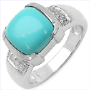 2.64CTW Turquoise & White Sapphire .925 Sterling Silver Ring