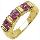 0.60CTW Genuine Ruby .925 Sterling Silver Gold Plated Ring