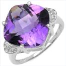 7.56CTW Genuine Amethyst & White Diamond .925 Sterling Silver Ring
