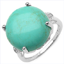 11.81CTW Turquoise & White Diamond .925 Sterling Silver Ring