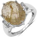 7.93CTW Genuine Golden Rutile & White Topaz .925 Sterling Silver Ring