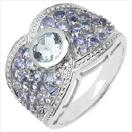 1.93CTW Genuine Aquamarine & Tanzanite .925 Sterling Silver Ring