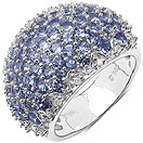 2.85CTW Genuine Tanzanite & White Diamond .925 Sterling Silver Ring