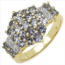 1.62CTW Genuine Tanzanite & White Diamond .925 Sterling Silver Gold Plated Ring