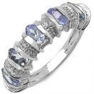 1.28CTW Tanzanite & White Topaz .925 Sterling Silver Ring