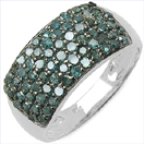 1.04CTW Genuine Blue Diamond .925 Sterling Silver Ring
