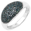 0.55CTW Genuine Blue Diamond .925 Sterling Silver Ring