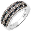 0.52CTW Genuine Blue Diamond & White Diamond .925 Sterling Silver Cluster Ring