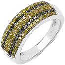 0.52CTW Genuine Green Diamond & Yellow Diamond .925 Sterling Silver Cluster Ring