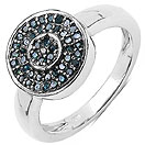 0.24CTW Genuine Blue Diamond .925 Sterling Silver Ring
