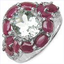"""4.25CTW Genuine Aquamarine, Ruby & White Topaz .925 Sterling Silver Ring"""