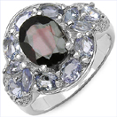 """4.16CTW Genuine Garnet, Tanzanite & White Topaz .925 Sterling Silver Ring"""