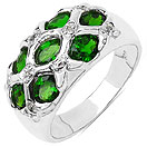 2.38CTW Genuine Chrome Diopside .925 Sterling Silver Ring