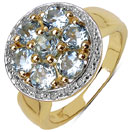 1.68CTW Genuine Aquamarine 14K Yellow Gold Plated .925 Sterling Silver Ring