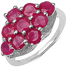 3.33CTW Genuine Glass Filled Ruby .925 Sterling Silver Ring