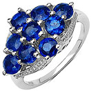 3.42CTW Genuine Kyanite .925 Sterling Silver Cluster Ring