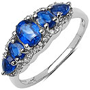 1.73CTW Genuine Kyanite & White Topaz .925 Sterling Silver Ring