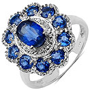 2.96CTW Genuine Kyanite & White Topaz .925 Sterling Silver Ring