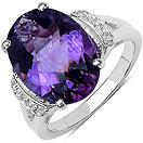 4.73CTW Genuine Amethyst & White Topaz .925 Sterling Silver Ring