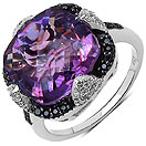 """5.94CTW Genuine Amethyst, Black Spinel & White Topaz .925 Sterling Silver Ring"""