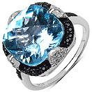 """8.75CTW Genuine Blue Topaz, Black Spinel & White Topaz .925 Sterling Silver Ring"""