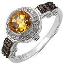 """1.21CTW Genuine Citrine, Champagne Diamond & White Diamond .925 Sterling Silver Ring"""