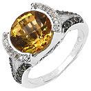 """3.54CTW Genuine Citrine, White Diamond & Champagne Diamond .925 Sterling Silver Ring"""