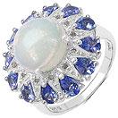"""3.26CTW Genuine Ethiopian Opal, Tanzanite & White Diamond .925 Sterling Silver Ring"""