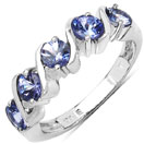 1.15CTW Genuine Tanzanite .925 Sterling Silver 5 Stone Ring
