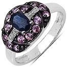 1.21CTW Genuine Blue Sapphire & Pink Sapphire .925 Sterling Silver Ring