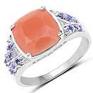 3.97CTW Genuine Peach Moonstone & Tanzanite .925 Sterling Silver Cocktail Ring
