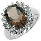 6.79CTW Smoky Topaz & Blue Topaz .925 Sterling Silver Ring