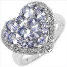 1.54CTW Genuine Tanzanite .925 Sterling Silver Heart Shape Ring