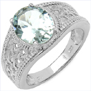2.25CTW Genuine Aquamarine .925 Sterling Silver Ring