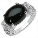 7.04CTW Genuine Onyx .925 Sterling Silver Ring