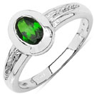 0.47CTW Genuine Chrome Diopside .925 Sterling Silver Solitaire Ring