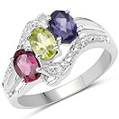 1.36CTW Multi Gemstones .925 Sterling Silver Ring