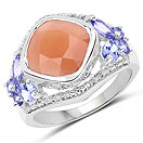 4.67CTW Genuine Peach Moonstone & Tanzanite .925 Sterling Silver Cocktail Ring