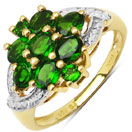 1.47CTW Genuine Chrome Diopside 14K Yellow Gold Plated .925 Sterling Silver Cluster Ring
