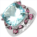 9.34CTW Genuine Blue Topaz & Rhodolite .925 Sterling Silver Ring